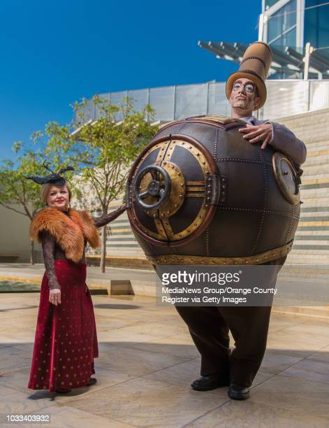 Characters from Cirque du Soleil's Kurios Mini Lili left and Mr Microcosmos pay a visit to South Coast Plaza in Costa Mesa ///ADDITIONAL INFORMATION...