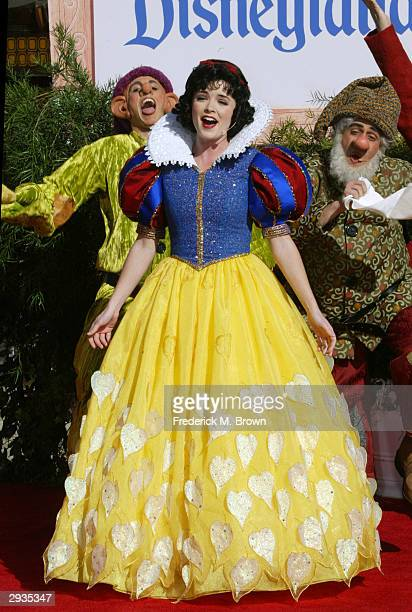 Characters from the fabled children's story and movie Snow White and the Seven Dwarfs attend a handprint ceremony at Grauman's Chinese Theatre...