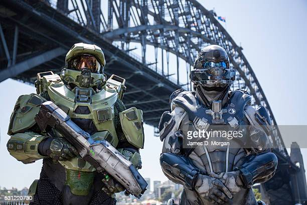 Characters from the highlyanticipated videogame Halo 5 Guardians appeared on Bondi Beach and in the City on October 15 2015 in Sydney Australia