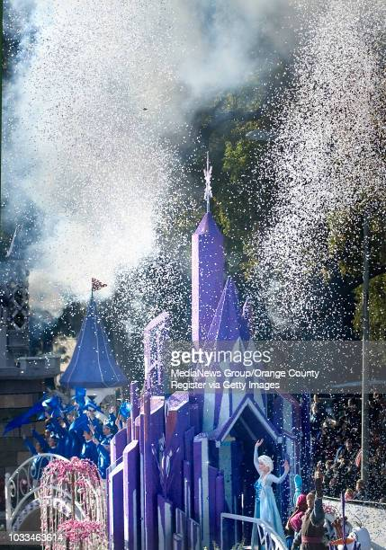 Characters from the movie Frozen are at home in manmade snow over the Disney float at the 2016 Rose Parade INFO Photo by MINDY The Orange County...