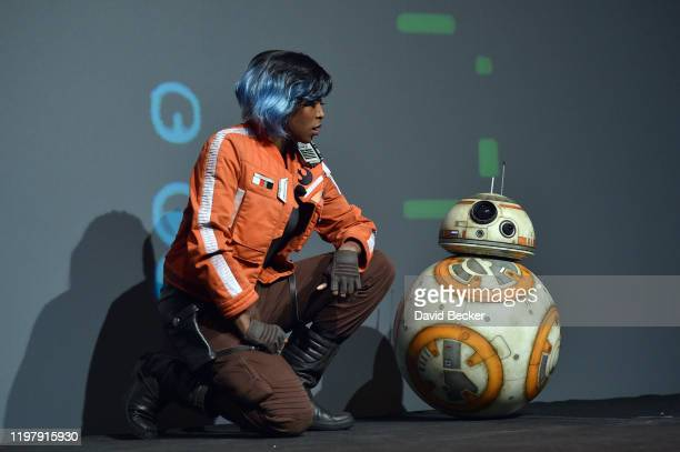 """Characters from the """"Star Wars"""" movie franchise, including BB-8 , perform during a Panasonic press event for CES 2020 at the Mandalay Bay Convention..."""