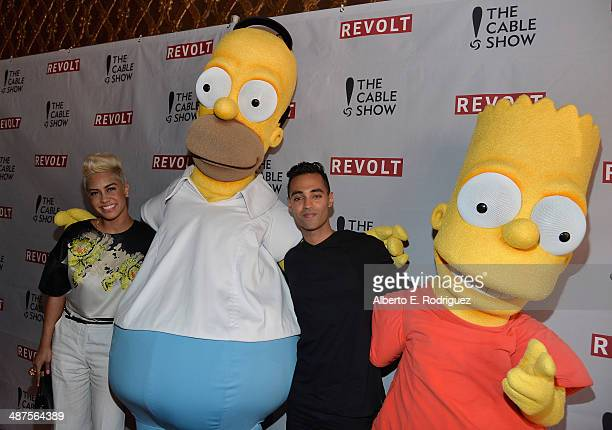 TV characters Homer Simpson and Bart Simpson attend REVOLT and The National Cable and Telecommunications Association's Celebration of Cable at...