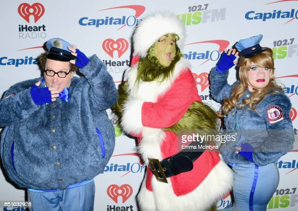 Characters in costume pose in the press room during 1027 KIIS FM's Jingle Ball 2017 presented by Capital One at The Forum on December 1 2017 in...