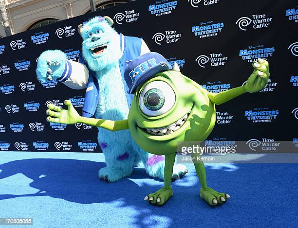 Characters James Sullivan and Mike Wazowski attend the premiere of Disney Pixar's Monsters University at the El Capitan Theatre on June 17 2013 in...