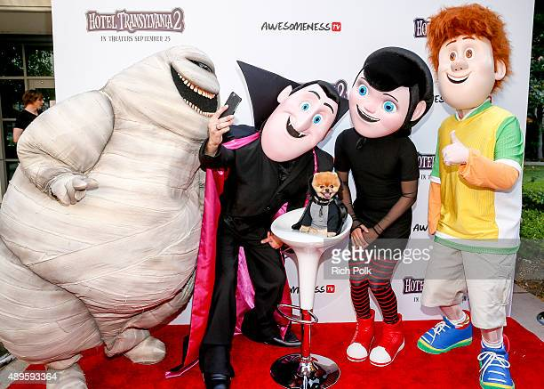 Characters Murray Drac Mavis and Jonathan pose for a photo with Jiff The Pomeranian at the Hotel Transylvania 2 Special Screening Hosted By...