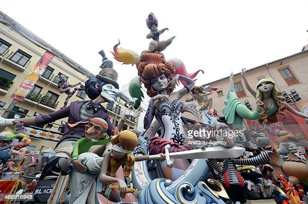 Characters of the Falla Plaza Na Jordana during the Fallas Festival on March 19 2015 in Valencia Spain The Fallas festival which runs from March 15...