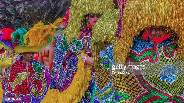 characters of the rural maracatu in nazaré da mata, interior city of the state of pernambuco, in the carnival of 2016 - fete stock photos and pictures