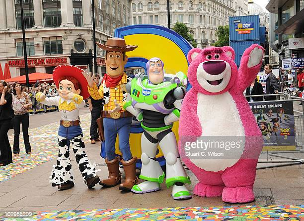 Charactures from Toy Story attend the Toy Story 3 UK film premiere at the Empire Leicester Square on July 18 2010 in London England