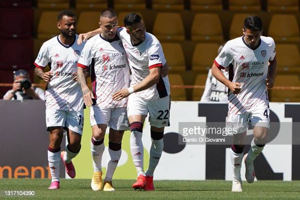 Charalampos Lykogiannis of Cagliari Calcio celebrates after scoring a goal during the Serie A match between Benevento Calcio and Cagliari Calcio at...