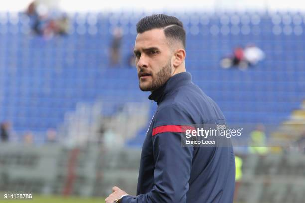 Charalampos Lykogiannis of Cagliari looks on during the serie A match between Cagliari Calcio and Spal at Stadio Sant'Elia on February 4 2018 in...