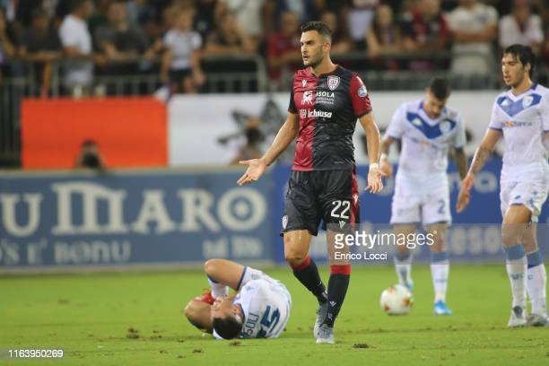 Charalampos Lykogiannis of Cagliari reacts during the Serie A match between Cagliari Calcio and Brescia Calcio at Sardegna Arena on August 25 2019 in...