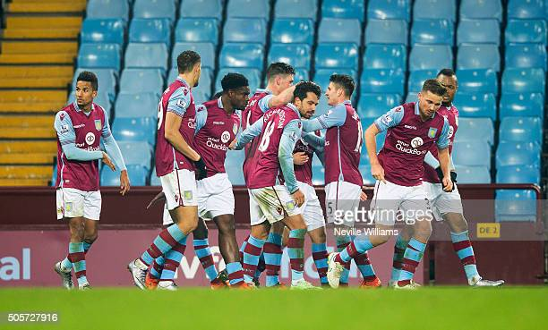 Charan Clark of Aston Villa celebrates his goal for Aston Villa during the FA Cup Third Round Relay match between Aston Villa and Wycombe Wanderers...