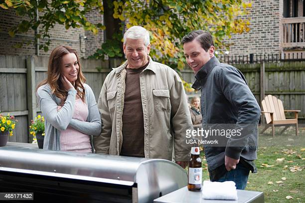 SIRENS Charbroiled Episode 209 Pictured Jessica McNamee as Theresa Kelly Lenny Clarke as Johnny's Dad Michael Mosley as Johnny Farrell