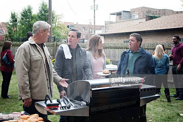 SIRENS Charbroiled Episode 209 Pictured Lenny Clarke as Johnny's Dad Michael Mosley as Johnny Farrell Jessica McNamee as Theresa Kelly John Scurti as...