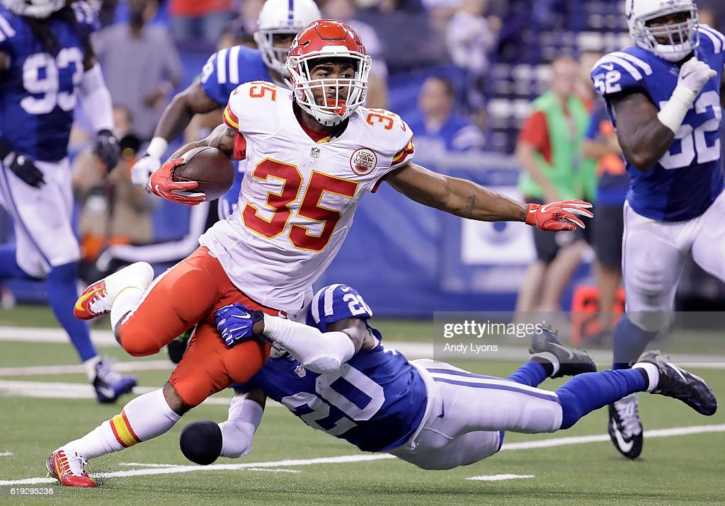 Charcandrick West #35 of the Kansas City Chiefs runs with the ball during the third quarter of the game against the Indianapolis Colts at Lucas Oil Stadium on October 30, 2016 in Indianapolis, Indiana.