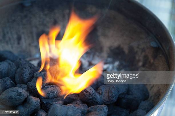 Charcoal briquettes burning