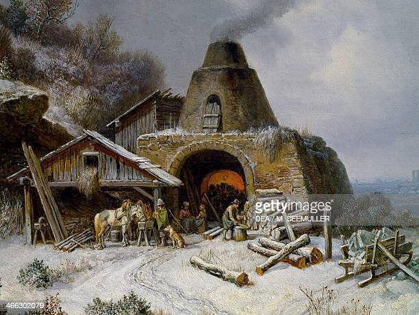 Charcoal burner near Isar painting by Heinrich Burkel Detail