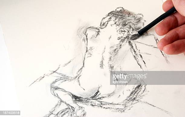 Charcoal drawing - female nude