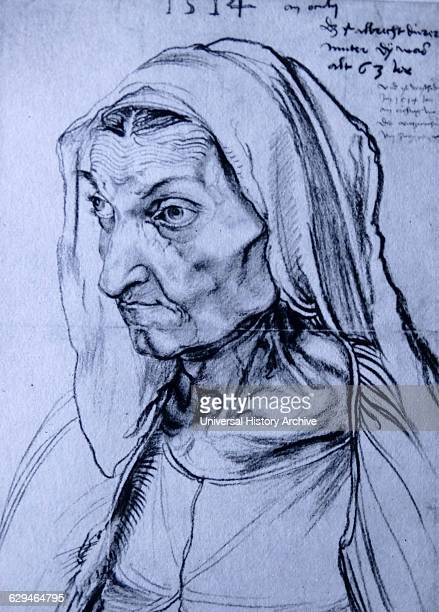 Charcoal drawing of The Artist's Mother by Albrecht Dürer painter printmaker and theorist of the German Renaissance Dated 16th Century