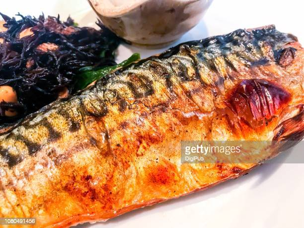 charcoal grilled mackerel close-up - mackerel stock pictures, royalty-free photos & images