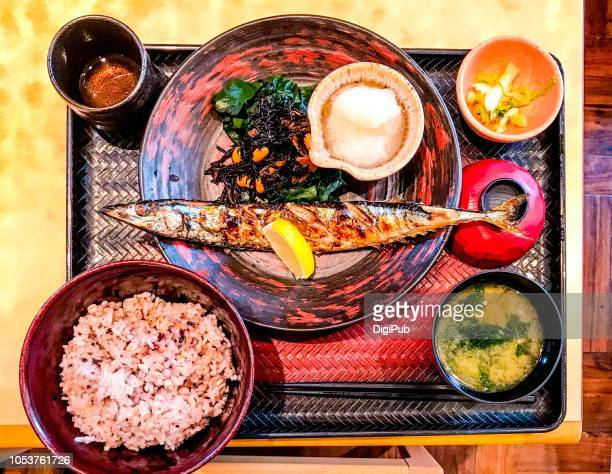 charcoal grilled pike and five kind cereal grain mixed rice healthy lunch meal - pike fish stock pictures, royalty-free photos & images