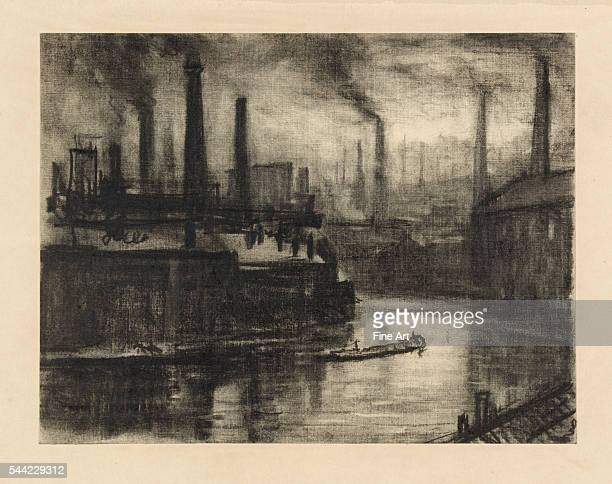 1908 Charcoal on cream paper Sheet 221 x 29 cm Drawing showing the factory district and smokestacks Later published in the book London by Sydney Dark...