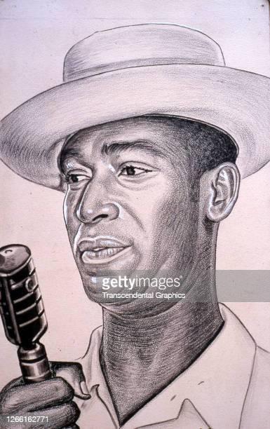 Charcoal portrait of Cuban baseball player Martin Dihigo , Havana, Cuba, late 1930s or early 1940s.