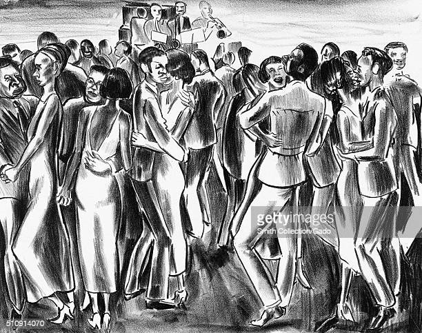 Charcoal sketch of African-American dancers listening to a jazz band at the Savoy Ballroom, Harlem, New York, 1939. From the New York Public Library....