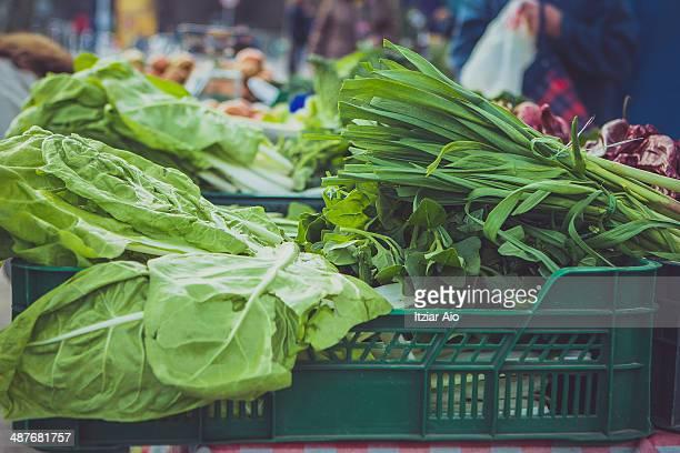 chard at farmer market - pais vasco fotografías e imágenes de stock