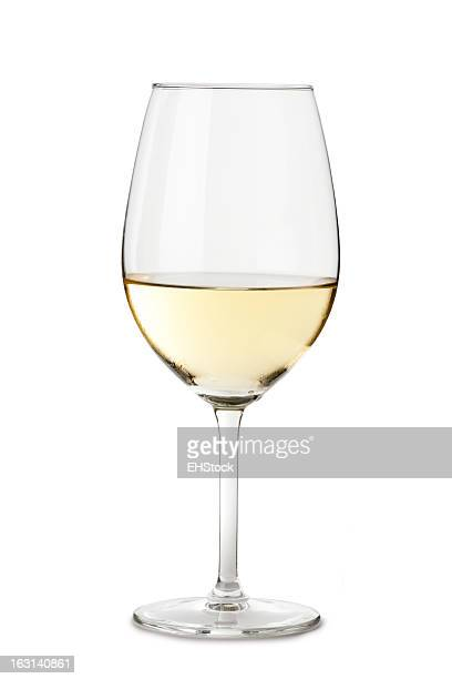 Chardonnay Wine Glass Isolated on White Background