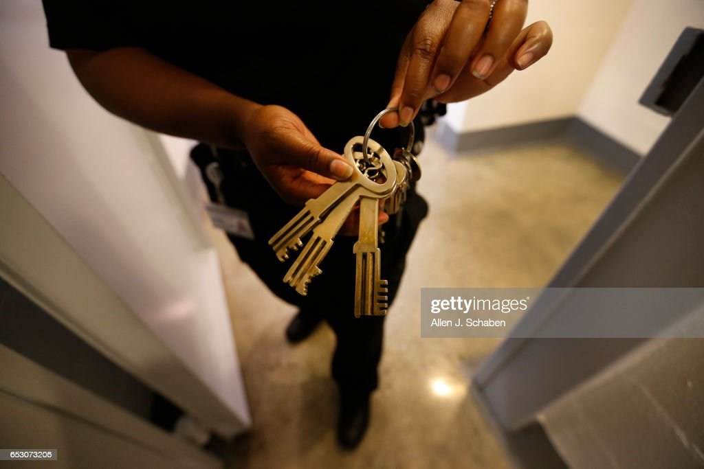 Charente LaGarde, senior detention officer, shows off skeleton keys, favored by movie companies that film here, while giving a tour of the pay-to-stay program at the Seal Beach Detention center in Seal Beach. Project is a first-ever review of all 26 pay to stay jails in Southern California, where we've found inmates convicted of violent crimes and sex crimes, and repeat offenders. Seal Beach is by far the most lucrative of the programs, and appears to allow the most serious charges. Photo taken Tuesday, Nov. 29, 2016.