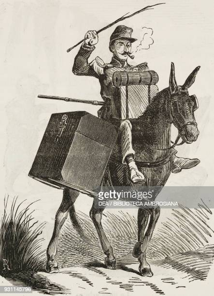 Charge d'affaires, a soldier on a mule, illustration by Gilbert Randon from the Journal pour rire, Journal Amusant, No 35, August 30, 1856.