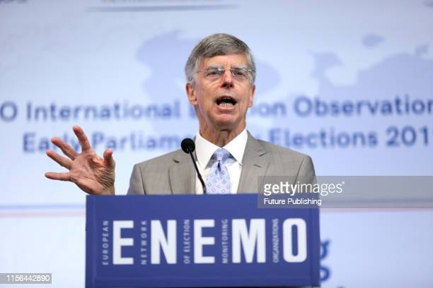 US Charge d'Affaires ai in Ukraine Ambassador William Taylor participates in a briefing of shortterm observers by the ENEMO International Election...
