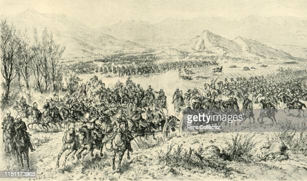 Charge of Cavalry to Cover the Retreat of the Guns in the Action of 11th December 1879', . British and Punjab cavalry attacked the Afghans in the...