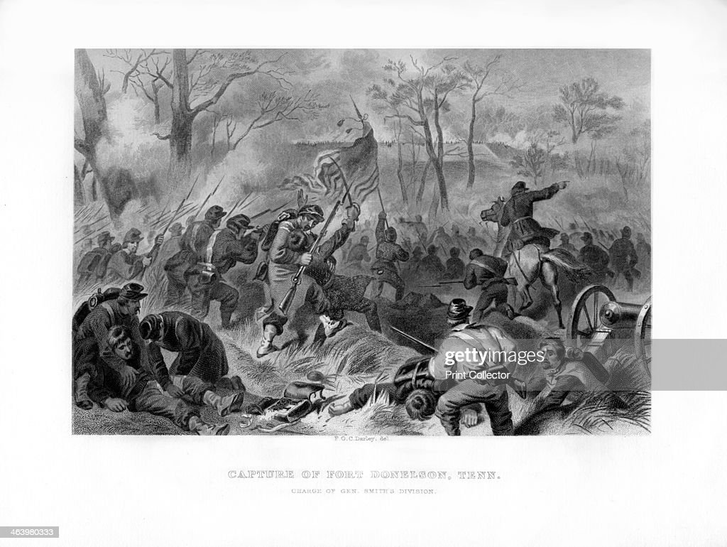 Charge of General Smith's Division, Capture of Fort Donelson, Tennessee, 1862-1867.Artist: Felix Octavius Carr Darley : News Photo