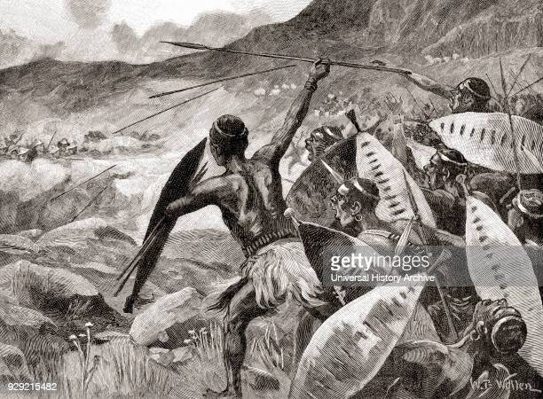 Charge of the Ndebele warriors in the Matoppo Hills South Africa during The Second Matabele War aka The Matabeleland Rebellion in 1896 From The...