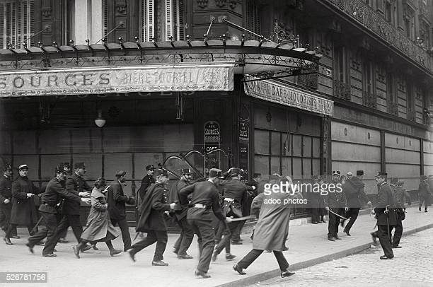 Charge of the police against protesters during the Labour Day in Paris On May 1 1920