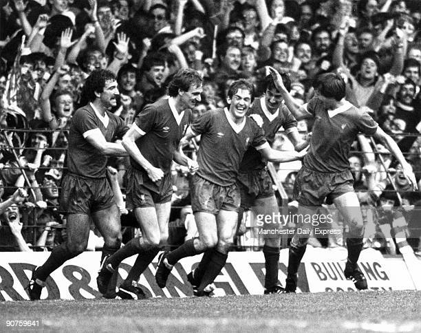 �Charge of the Red Brigade after Dalglish makes it 21 at the Kop end� Left to right Graham Souness Phil Thompson Kenny Dalglish Ian Rush and Alan...