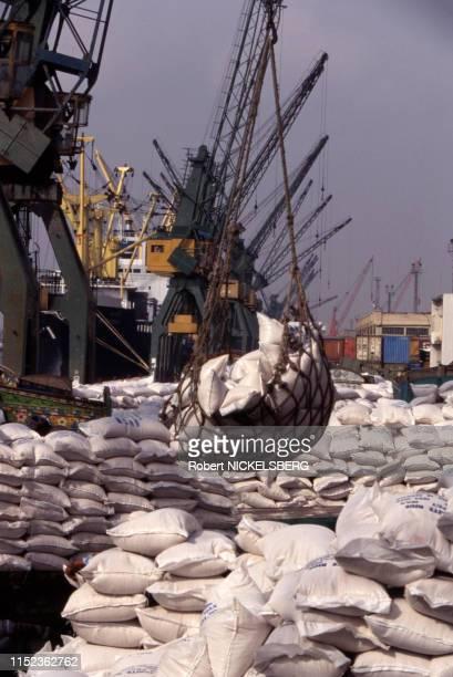 Chargement de riz pour l'exportation au port de Karachi, Pakistan, en mai 1995.