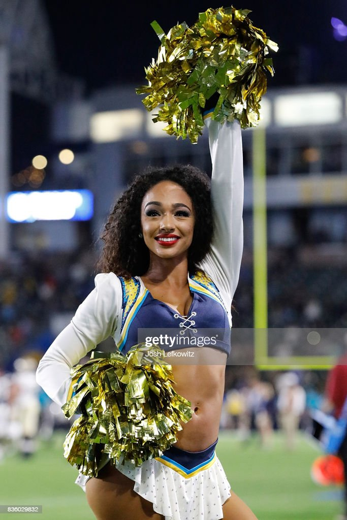 Charger Girls perform during the game between the Los Angeles Chargers and the New Orleans Saints at the StubHub Center on August 20, 2017 in Carson, California.