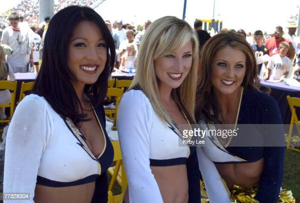 Charger Girls Tiffany Angeles Kaylin McClain and Sara Beth Guterman during San Diego Chargers FanFest at the Home Depot Center in Carson Calif on...