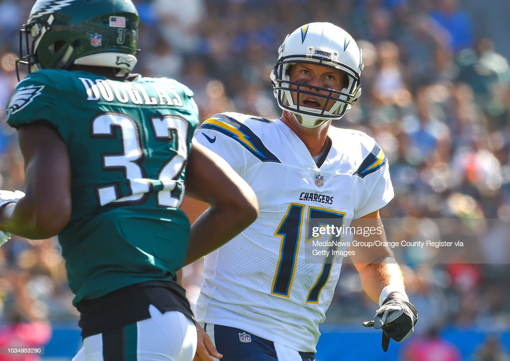 Chargers Quarterback Philip Rivers Looks Up At The Video