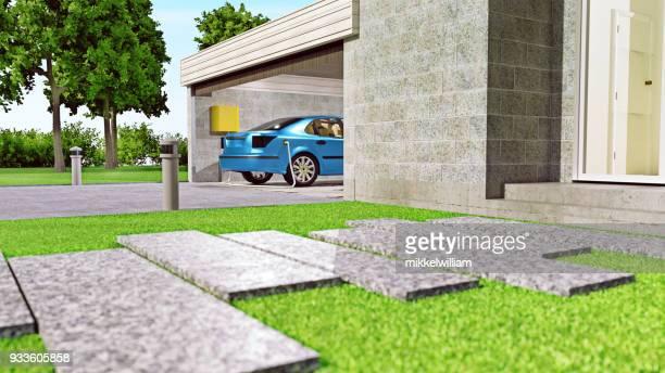 Aufladen von Elektroautos zu Hause in der garage