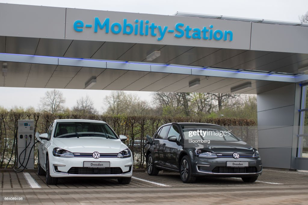Volkswagen AG Unveil Solar Powered E-charging Station : News Photo