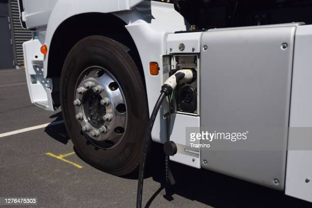 charging process in electric truck - electricity stock pictures, royalty-free photos & images