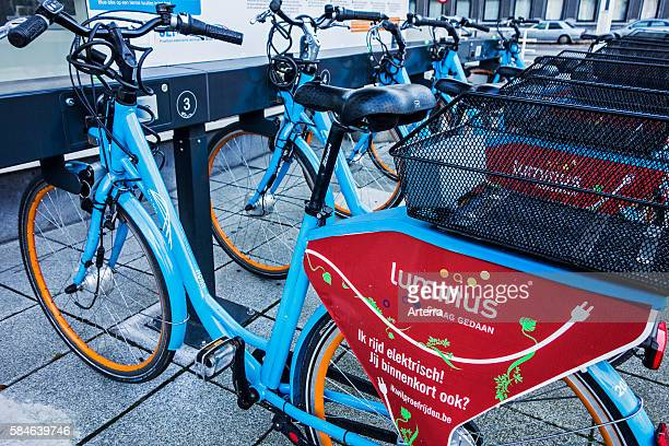 Charging station for ebikes / electric bicycles by Blue Bike in the city Ghent Belgium
