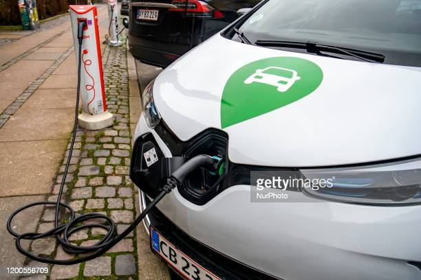 Charging the electric car in Copenhagen Denmark February 2020