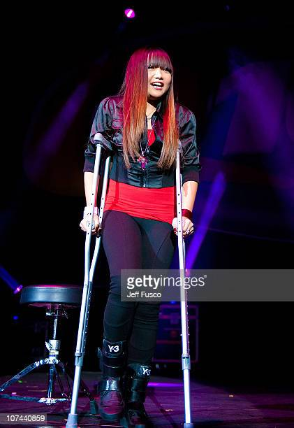 Charice walks on crutches at the Q102 Jingle Ball at the Susquehanna Bank Center on December 8 2010 in Camden New Jersey