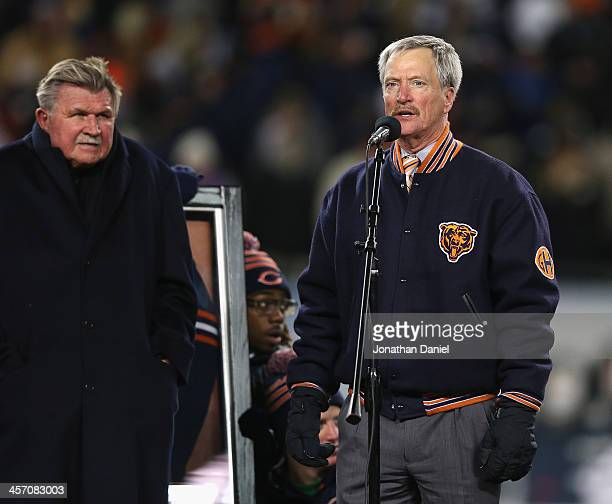 Chariman George McCaskey of the Chicago Bears speaks during a number retirement ceremony for Mike Ditka during halftime of a game against the Dallas...