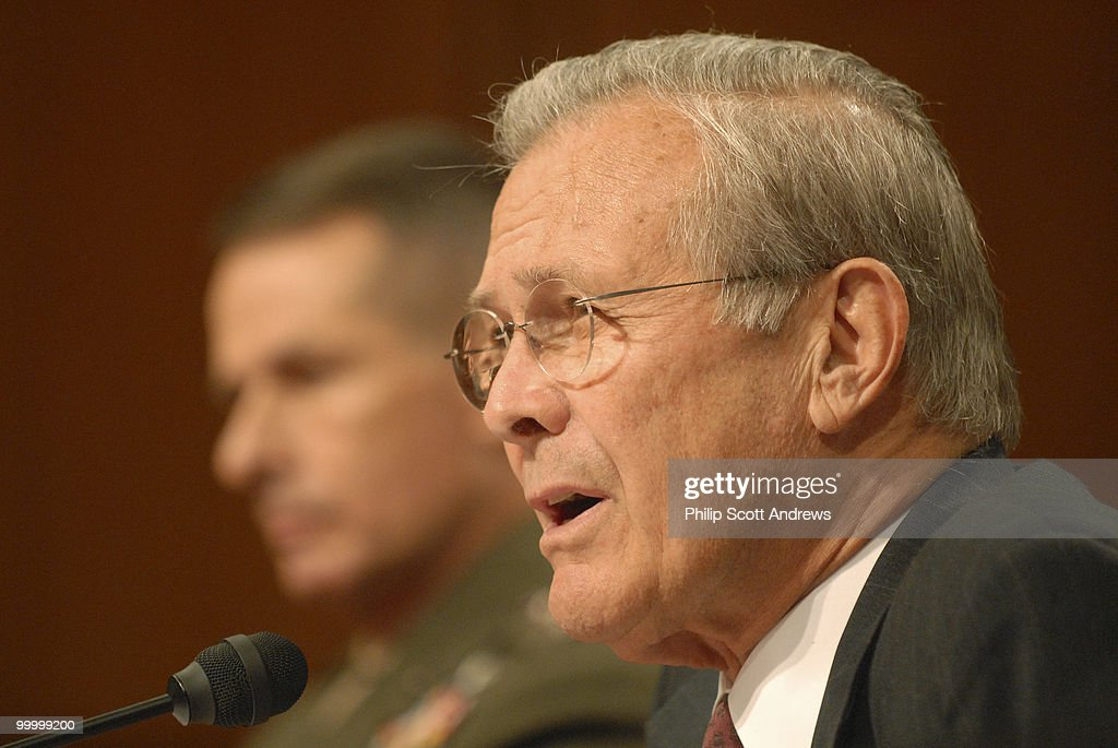 Chariman of the Joint Chiefs of Staff Gen. Peter Pace and Secretary of Defense, Donald Rumsfeld testify before the Senate Armed Services Committee on the war in Iraq and Afghanistan.